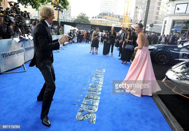 Laura Haddock and Michael Bay attend the global premiere of 'Transformers The Last Knight' at Cineworld Leicester Square on June 18 2017 in London...