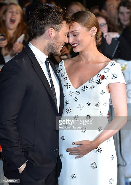 Laura Haddock and Sam Claflin attend The Hunger Games: Mockingjay Part 2 - UK Premiere at Odeon Leicester Square on November 5, 2015 in London,...