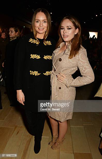 Laura Haddock and Tanya Burr wearing Burberry at the Burberry Womenswear February 2016 Show at Kensington Gardens on February 22 2016 in London...