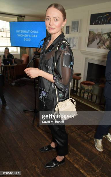 Laura Haddock attends a drinks reception at Soho House to celebrate the announcement of a brand-new childcare facility at Warner Bros. Studios...