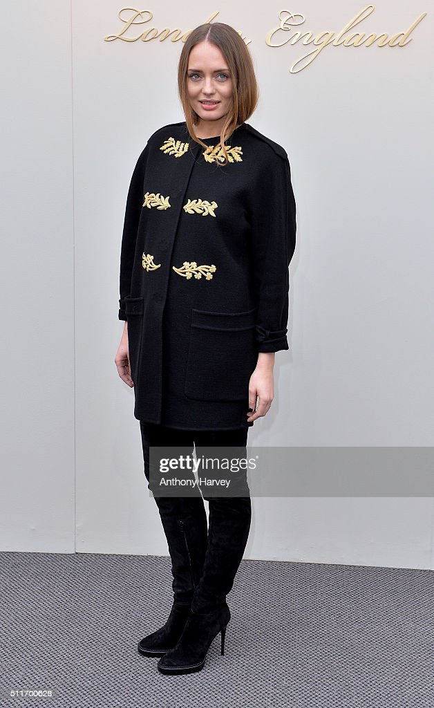 Laura Haddock attends the Burberry show during London Fashion Week Autumn/Winter 2016/17 at Kensington Gardens on February 22, 2016 in London, England.