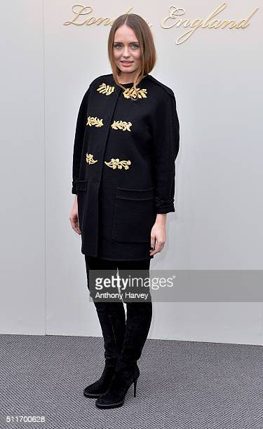 Laura Haddock attends the Burberry show during London Fashion Week Autumn/Winter 2016/17 at Kensington Gardens on February 22 2016 in London England