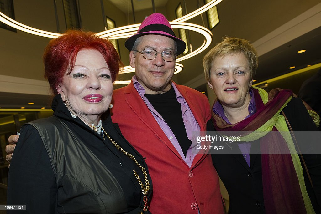 Laura Halding-Hoppenheit (from L), Rosa von Praunheim and Renate Kuenast attend the 1st Charity Dinner by Federal Trust Fund Magnus Hirschfeld at Waldorf Astoria on May 25, 2013 in Berlin, Germany.