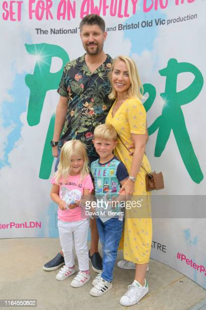 Laura Hamilton Alex Goward and Children attend the press performance of Peter Pan at the Troubadour White City Theatre on July 27 2019 in London...