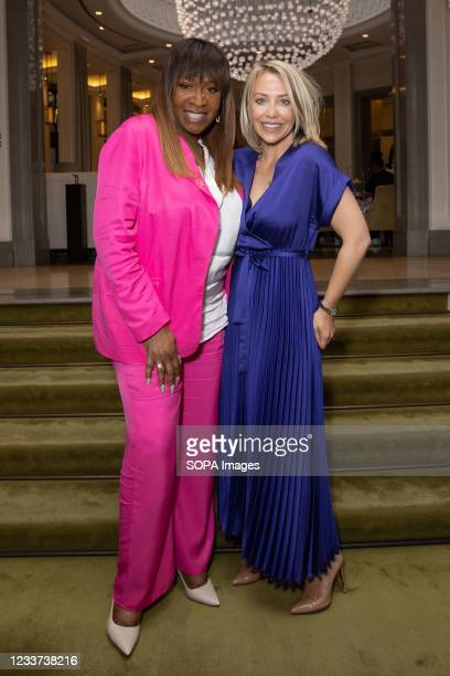 Laura Hamilton and Angie Greaves attend afternoon tea at Corinthia Hotel London in aid of Breast Cancer Now hosted by Angie Greaves and Concorde...