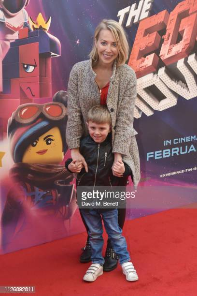 Laura Hamilton and son attend the multimedia screening of The Lego Movie 2 The Second Part at Cineworld Leicester Square on February 02 2019 in...