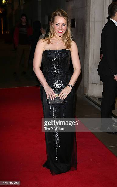 Laura Hamilton attends a VIP fundraising dinner in aid of Helping Hands at The Savoy Hotel on March 20 2014 in London England