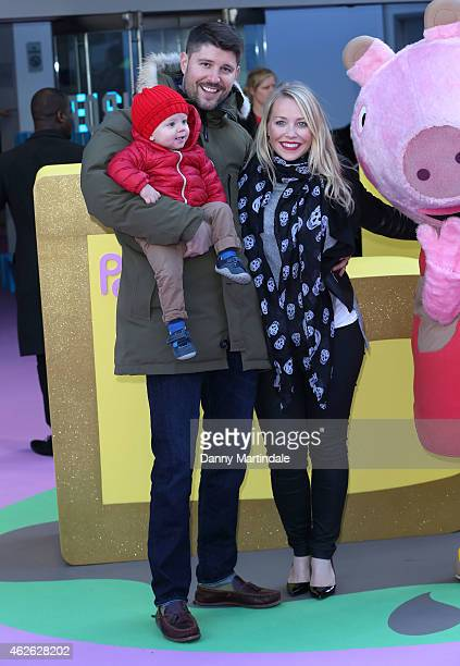 Laura Hamilton her husband Alex Goward and their son Rocco attend the premeire of 'Peppa Pig The Golden Boots' at Odeon Leicester Square on February...