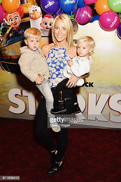 Laura Hamilton with sones Rocco and Tahlia attends a multimedia screening of Storks at Cineworld Leicester Square on October 2 2016 in London England