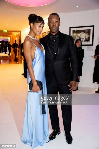 Laura Harrier and Corey Hawkins attend the amfAR Gala Cannes 2018 after party at Hotel du CapEdenRoc on May 17 2018 in Cap d'Antibes France