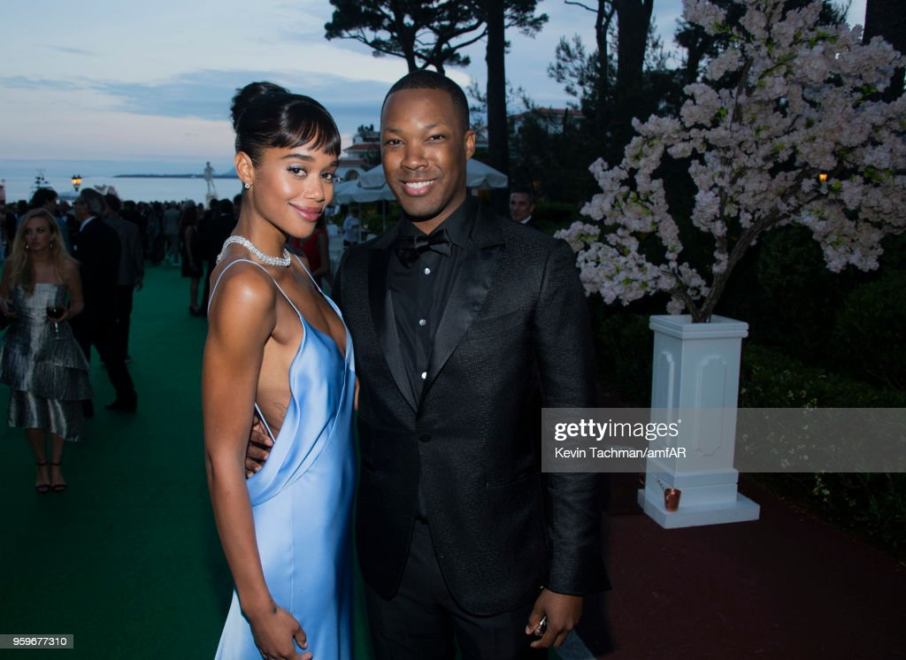 Laura Harrier and Corey Hawkins attend the cocktail at the amfAR Gala Cannes 2018 at Hotel du Cap-Eden-Roc on May 17, 2018 in Cap d'Antibes, France.