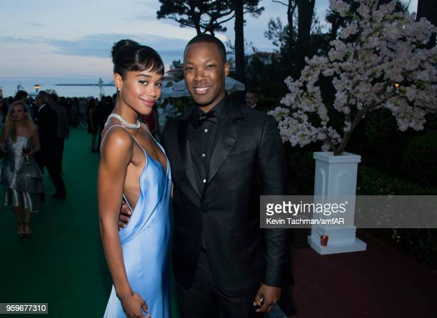 Laura Harrier and Corey Hawkins attend the cocktail at the amfAR Gala Cannes 2018 at Hotel du CapEdenRoc on May 17 2018 in Cap d'Antibes France