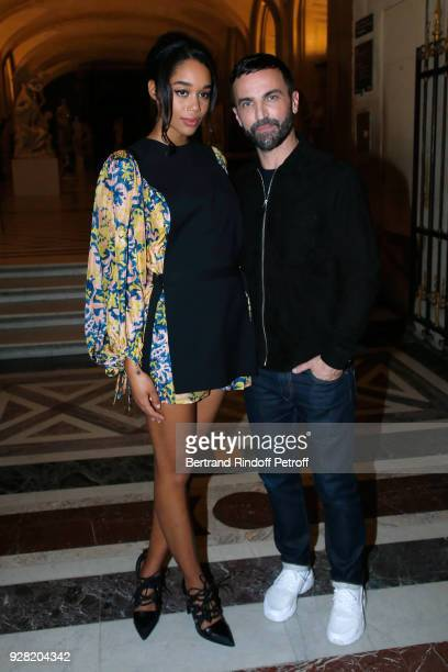 Laura Harrier and Stylist Nicolas Ghesquiere pose after the Louis Vuitton show as part of the Paris Fashion Week Womenswear Fall/Winter 2018/2019 on...