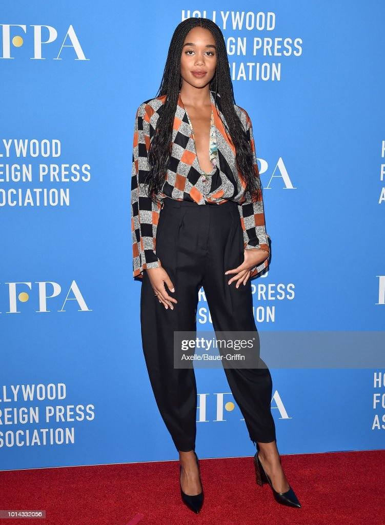 Laura Harrier arrives at the Hollywood Foreign Press Association's Grants Banquet at The Beverly Hilton Hotel on August 9, 2018 in Beverly Hills, California.