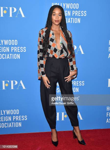Laura Harrier arrives at the Hollywood Foreign Press Association's Grants Banquet at The Beverly Hilton Hotel on August 9 2018 in Beverly Hills...