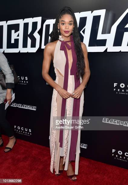 Laura Harrier arrives at the premiere of Focus Features' 'BlacKkKlansman' at Samuel Goldwyn Theater on August 8 2018 in Beverly Hills California