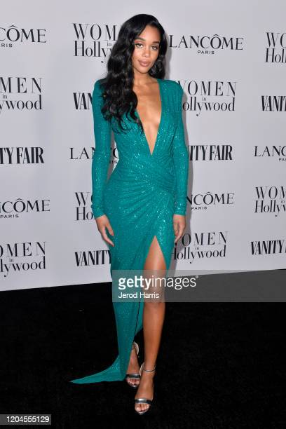 Laura Harrier arrives at Vanity Fair and Lancôme Women In Hollywood Celebration at Soho House on February 06, 2020 in West Hollywood, California.