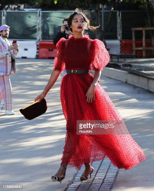 Laura Harrier arrives for 2019 CFDA Fashion Awards at Brooklyn Museum on June 03 2019 in New York City