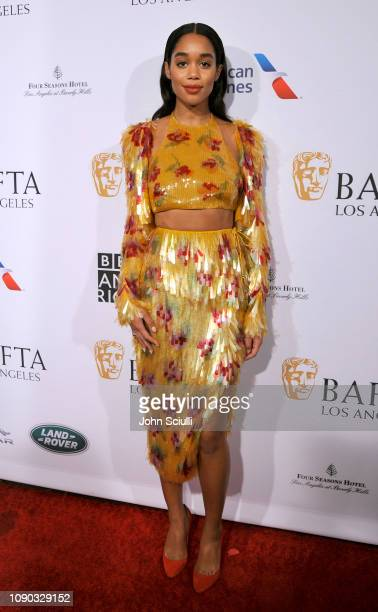 Laura Harrier arrives to the BAFTA Tea Party at The Four Seasons Hotel Los Angeles at Beverly Hills on January 05 2019 in Beverly Hills California