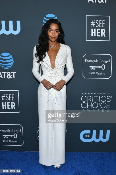 Laura Harrier at Claire Foy Accepts The #SeeHer Award At The 24th Annual Critics' Choice Awards The Barker Hanger on January 13, 2019 in Santa...
