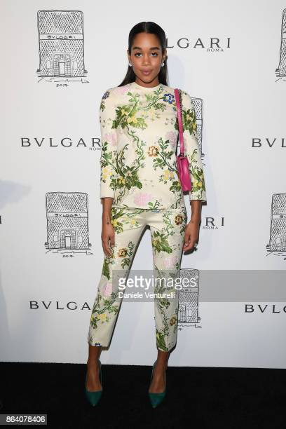Laura Harrier attends a party to celebrate the Bvlgari Flagship Store Reopening on October 20 2017 in New York City
