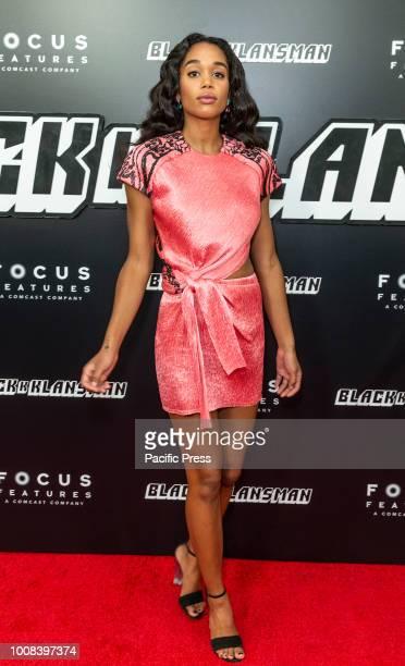 Laura Harrier attends BlacKkKlansman premiere at BAM Harvey Theater