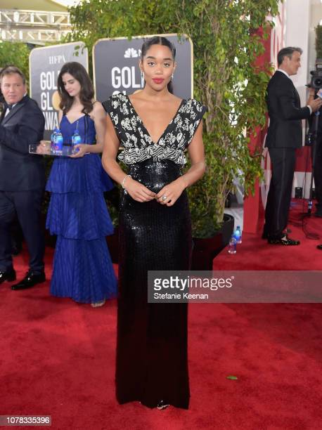 Laura Harrier attends FIJI Water at the 76th Annual Golden Globe Awards on January 6 2019 at the Beverly Hilton in Los Angeles California