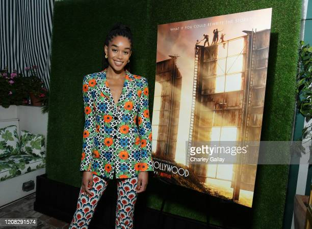 Laura Harrier attends Netflix Hollywood Tastemaker at San Vicente Bungalows on February 23 2020 in West Hollywood California