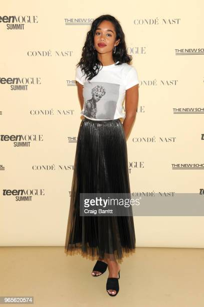 Laura Harrier attends Teen Vogue Summit 2018: #TurnUp - Day 1 at The New School on June 1, 2018 in New York City.