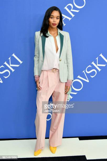 Laura Harrier attends the 2018 CFDA Fashion Awards at Brooklyn Museum on June 4 2018 in New York City