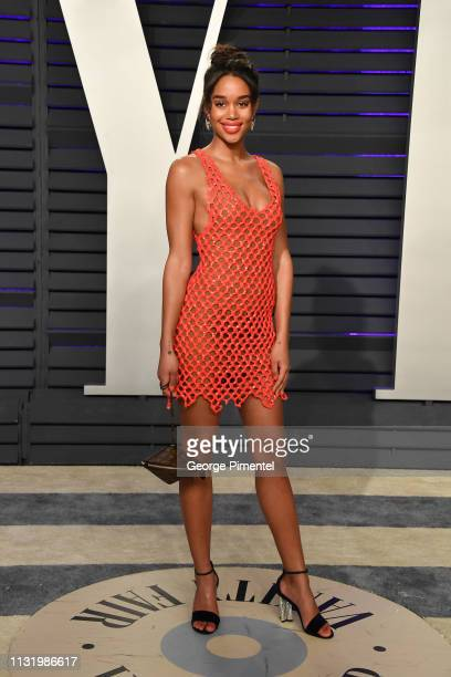 Laura Harrier attends the 2019 Vanity Fair Oscar Party hosted by Radhika Jones at Wallis Annenberg Center for the Performing Arts on February 24 2019...