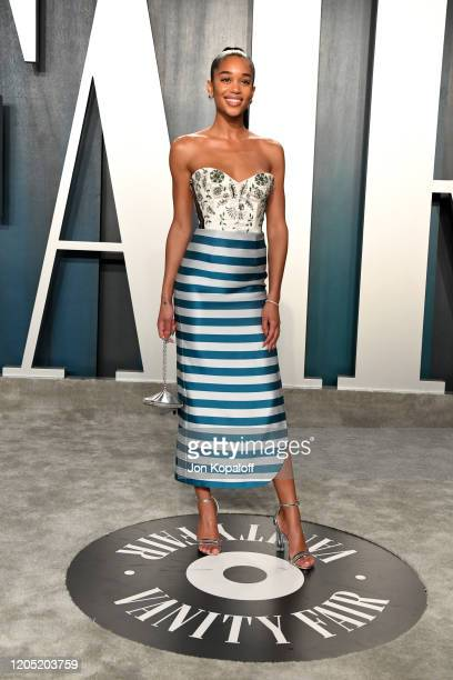 Laura Harrier attends the 2020 Vanity Fair Oscar Party hosted by Radhika Jones at Wallis Annenberg Center for the Performing Arts on February 09,...