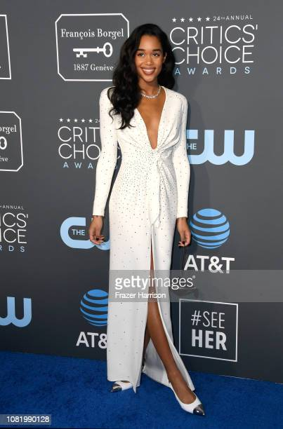Laura Harrier attends the 24th annual Critics' Choice Awards at Barker Hangar on January 13 2019 in Santa Monica California
