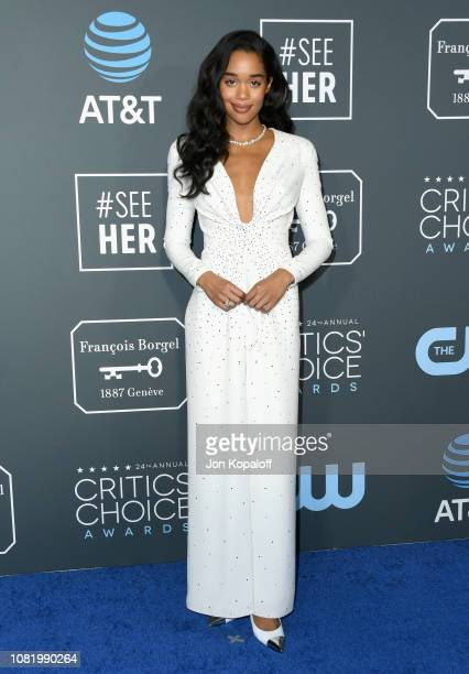9b8272b3c46 Laura Harrier attends the 24th annual Critics  Choice Awards at Barker  Hangar on January 13