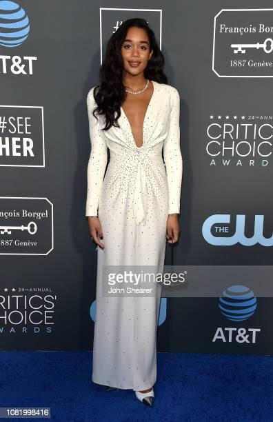 Laura Harrier attends the 24th Annual Critics' Choice Awards at Barker Hangar on January 13 2019 in Santa Monica California