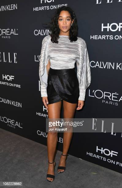 Laura Harrier attends the 25th Annual ELLE Women In Hollywood Celebration at Four Seasons Hotel Los Angeles at Beverly Hills on October 15, 2018 in...