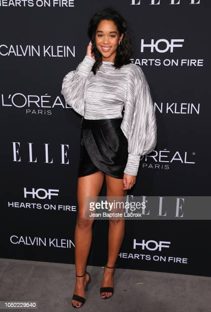 Laura Harrier attends the 25th Annual ELLE Women in Hollywood Celebration at Four Seasons Hotel Los Angeles at Beverly Hills on October 15 2018 in...