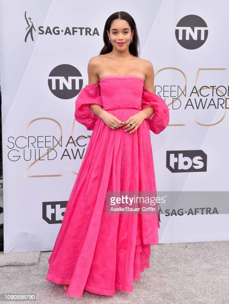 Laura Harrier attends the 25th Annual Screen Actors Guild Awards at The Shrine Auditorium on January 27, 2019 in Los Angeles, California.
