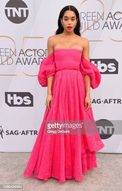 Laura Harrier attends the 25th Annual Screen Actors Guild Awards at The Shrine Auditorium on January 27 2019 in Los Angeles California 480645