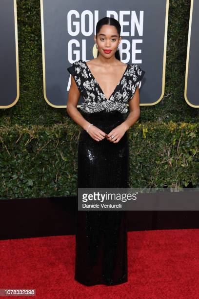 Laura Harrier attends the 76th Annual Golden Globe Awards at The Beverly Hilton Hotel on January 6 2019 in Beverly Hills California
