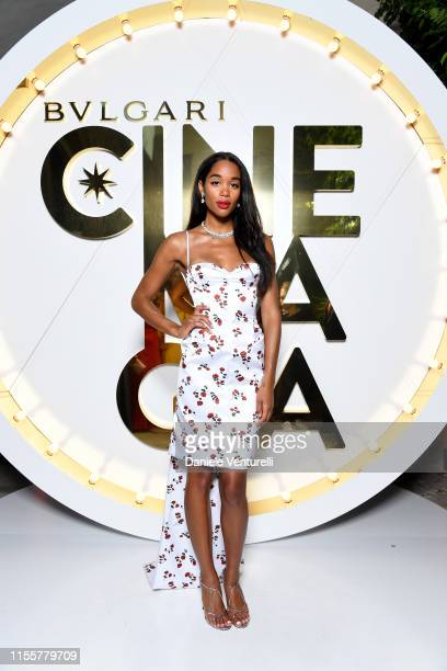 Laura Harrier attends the Bvlgari Hight Jewelry Exhibition on June 13, 2019 in Capri, Italy.