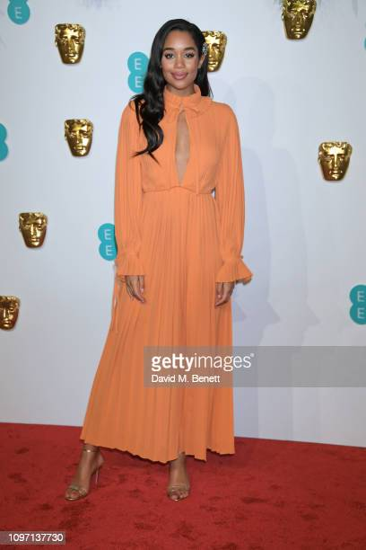 Laura Harrier attends the EE British Academy Film Awards at Royal Albert Hall on February 10, 2019 in London, England.