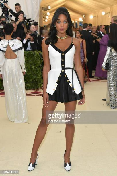 Laura Harrier attends the Heavenly Bodies: Fashion & The Catholic Imagination Costume Institute Gala at The Metropolitan Museum of Art on May 7, 2018...
