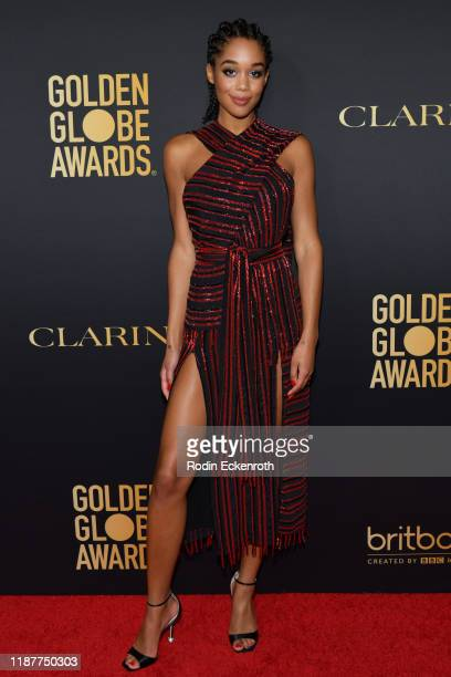 Laura Harrier attends the HFPA And THR Golden Globe ambassador party at Catch LA on November 14, 2019 in West Hollywood, California.