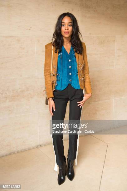 Laura Harrier attends the Louis Vuitton show as part of the Paris Fashion Week Womenswear Spring/Summer 2018 at Musee du Louvre on October 3, 2017 in...