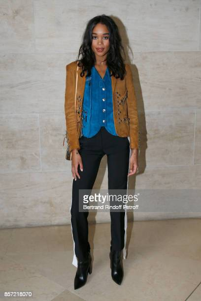 Laura Harrier attends the Louis Vuitton show as part of the Paris Fashion Week Womenswear Spring/Summer 2018 on October 3 2017 in Paris France