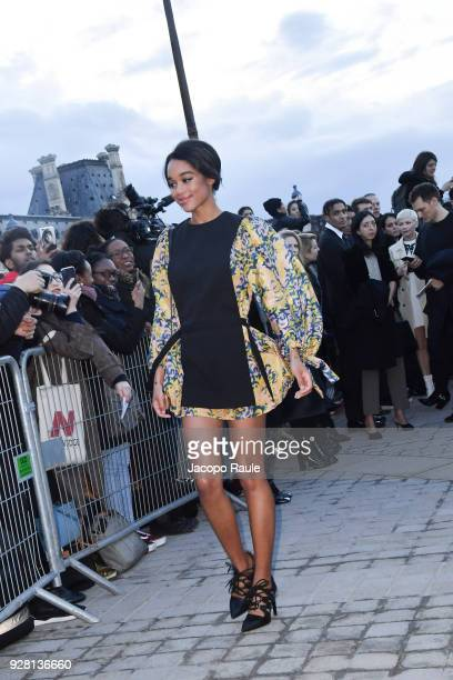 Laura Harrier attends the Louis Vuitton show as part of the Paris Fashion Week Womenswear Fall/Winter 2018/2019 on March 6 2018 in Paris France