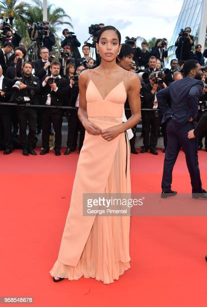 Laura Harrier attends the screening of BlacKkKlansman during the 71st annual Cannes Film Festival at Palais des Festivals on May 14 2018 in Cannes...