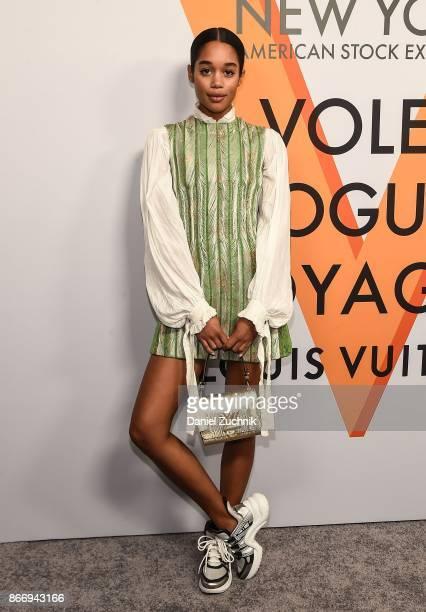 Laura Harrier attends the Volez Voguez Voyagez Louis Vuitton Exhibition Opening on October 26 2017 in New York City