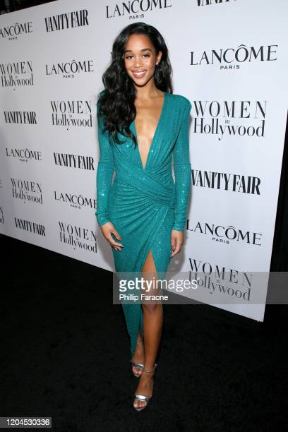 Laura Harrier attends Vanity Fair and Lancôme Toast Women in Hollywood on February 06, 2020 in Los Angeles, California.